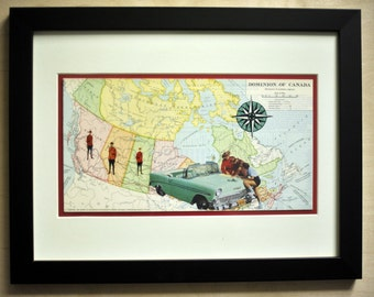 Collage - They Always Get Their Map - RCMP - Mounties - Canada - Glass Framed Artwork - Map of Canada