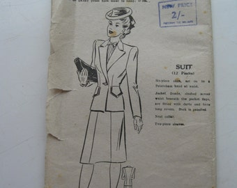 "1940s Suit - 34"" Bust - Bestway 20,969 - Vintage Wartime Sewing Pattern"