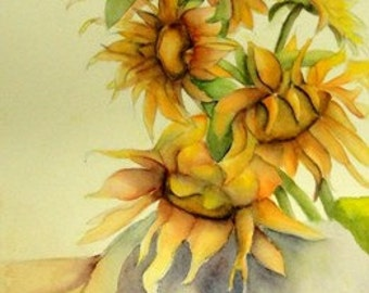 Watercolor,  Painting, Still Life,  Sunflowers, Flower Garden  Original