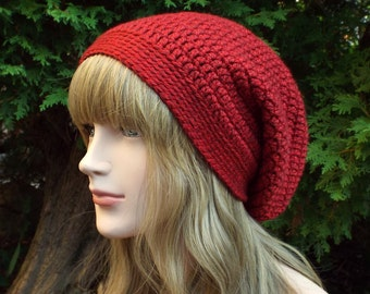 Cherry Red Slouchy Beanie, Womens Crochet Hat, Slouchy Hat, Slouch Beanie, Oversized Hipster Hat, Baggy Beanie, Slouch Hat
