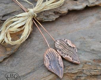Handmade Copper Snakeskin Leaf PaisleyHeadpins (1 pair)