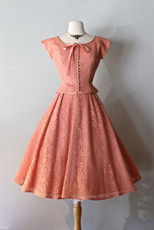 vintage 1950s blush lace party dress vintage 50s by