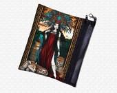 Feathered Goddess bag, Myka Jelina fantasy art bag, zipperd art supply school bag wristlet travel bag, cosmetics organizer tribal Aztec girl