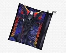 zip pouch, Myka Jelina Ravnwolf, art supply bag, pencil case, wristlet, travel bag, Gothic Angel, Celtic Goddess, Rainbow knots raven wolf