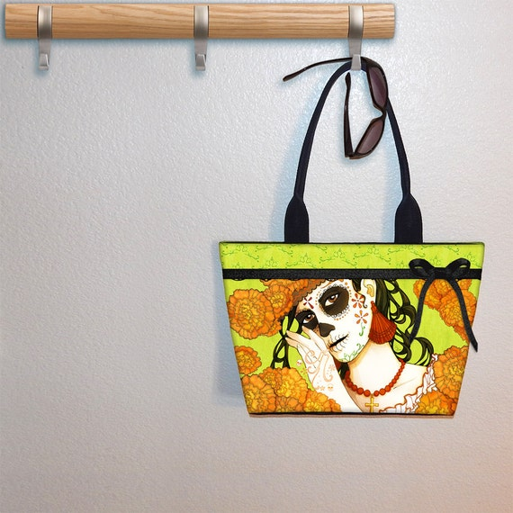 Catrina Day of the Dead WIDE Tote bag,  Kiri Moth, book tote, large purse, canvas tote, shoulder bag