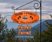 Colored Campfire Graphic with pine trees with 2 addons - Custom Camping Sign - Includes Round Garden Holder
