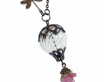 Pink Roses in Spring - Hot Air Balloon Necklace with Dragonfly