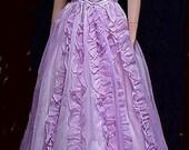 SALE !! - Vtg Prom Dress Ball Gown Strapless Lavender Rows of Ruffles Pearl Buttons  Long Full Skirt