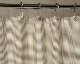 Gingham Shower Curtain Brown and White 72x72 In Stock made in USA