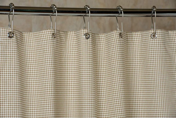 Gingham Shower Curtain Brown And White 72x72 By Southerntickingco