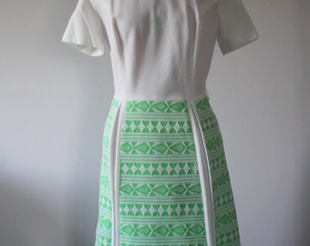 mod lime green and white scooter dress / geometric print / funnel collar / 1960s /1970s