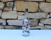 Hand Painted Glass Bottle with Purple Daisies and Free Flowing Spout