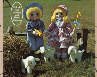 Gingham Goose 026 1980s 22 Inch Bo Peep DOLL and Boy Blue Doll and Doll CLOTHES and 7 Inch Sheep Pattern Vintage Toy  Sewing Pattern UNCUT