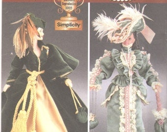 Simplicity 7213 Diva Doll Collection I Fashion Doll Clothes Pattern 11 1/2  Historical Curtain Dress Barbie Clothes Sewing Pattern UNCUT