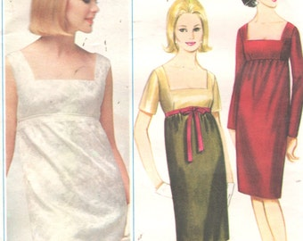 Butterick 3339 1960s Misses Evening Dress Pattern Empire Waist Low Square Neck Sleeve Options Womens Vintage Sewing Pattern Size 14 Bust 34