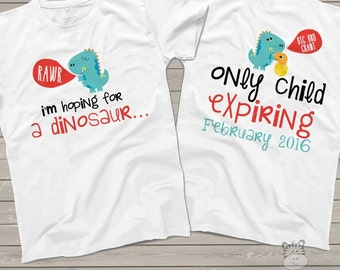 Big brother dinosaur only child expiring FRONT/BACK tshirt - fun pregnancy announcement shirt