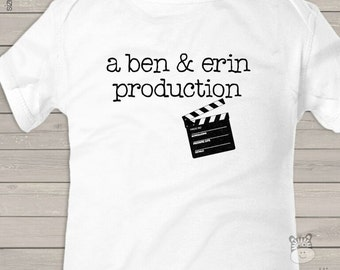 personalized bodysuit  - PRODUCTION CLAPBOARD - new baby gift, baby shower, hospital gift, pregnancy announcement