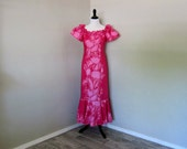 Vintage Hawaiian Dress, Good Times Hawaii Bright Pink Ruffled Cotton Blend Dress, Vintage 1980s Size Small, Summer Party Dress, Fun Dress