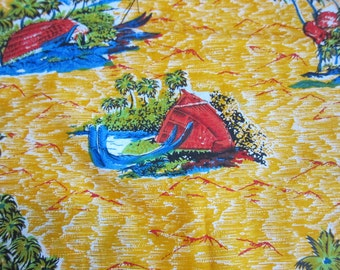 Tropical Beach Fabric, Nearly Two Yards, Bright Golden Yellow Cotton Fabric with Red Native Beach Huts, Palm Trees, Bright Blue Canoes,
