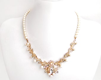 Garden Vine Rhinestone and Pearl Bib Bridal Necklace in Gold - Ivory Cream Pearls - Wedding Necklace