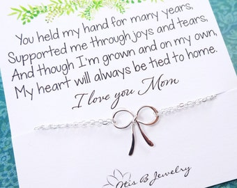 Gift for mother of the bride, mother of the groom, Bow bracelet for mom, mothers day gift, mothers day card, dainty bow jewelry, otis b