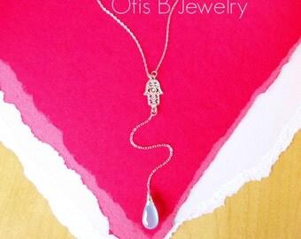 Hamsa necklace, Y necklace, gemstone lariat, Aqua necklace, Hamsa hand necklace, Good luck, evil eye necklace, Sterling silver Y necklace