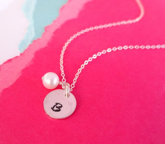 Personalized initial necklace, silver initial pendant, personalized pearl necklace, birthstone necklace, bridesmaid gift, simple necklace