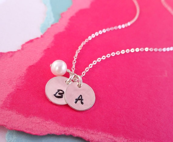 Two Initial Necklace, Two letter charms with birthstone, Best Friends, Husband Wife, friendship necklace, sister necklace, mothers necklace