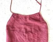 reserved Cerruti linen top burgundy wine red embroidery halter