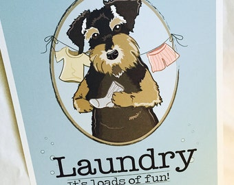 Schnauzer Laundry Print - 8x10 Eco-friendly Size