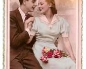 Vintage - LOVERS - ELEGANT COUPLE - years 1950 - French real photo Photo Postcard, written- Pink Background- slight mark left bottom corner