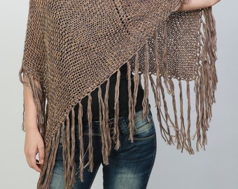 Hand knitted Little cotton poncho knit Fringe scarf knit shrug in Mocha