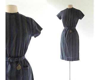 Vintage 1960s Dress / Clock Watcher / Striped Dress / 60s Dress / S M