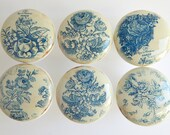 Antique Style Blue Floral Knobs, Vintage Blue Ornate Flower Knobs, Vintage Floral Drawer Knobs, Vintage Style- 1 1/2 Inches