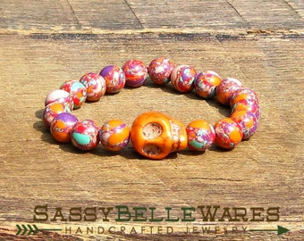 Orange Skull Bracelet choose plain or Swarovski crystal eyes rocker girl glam chic edgy Gasparilla red purple pink mint green stacking stack