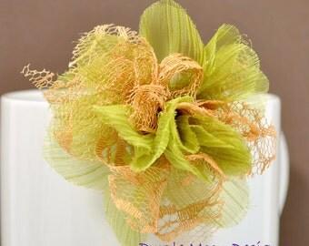 Green Brown Flower Clip, Autumn Hair Clip, Fabric Flower