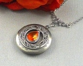 Victorian Orange Sapphire Locket Antique Silver Locket Rhinestone Vintage  Birthstone Filigree Locket Necklace