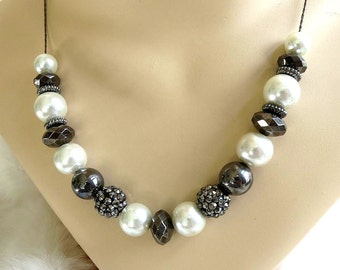 White Faux Pearls Necklace Hematite Beads, Silver Pyrite & Pave Marcasite Beads Vintage Slider