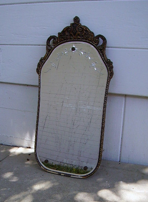 Vintage Wall Mirror Floral Etched Beveled Edge