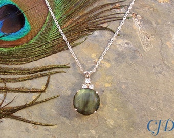 Pendant: Labradorite Faceted Round Genuine Gemstone in Sterling Silver with CZ Accents