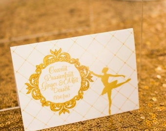 GLITTERY GOLD BALLERINA Printable Tent Cards