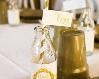 GLITTERY GOLD BALLERINA Printable Drink / Straw Flags