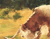 The Neighbor's Longhorn Bull, a 5x7 origninal gouache watercolor painting by Nan Henke