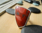 Volcano jasper statement ring, sterling silver, size 8.5, large red gemstone ring, conversation ring, gypsy ring, boho ring, ready to ship