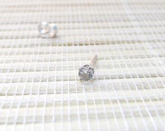 White Topaz Single Stud Sterling Silver April Birthstone 3mm