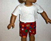 18 inch Doll Shorts, White Cotton TShirt, Red Sporty Shorts, American Made, Girl Doll Clothes