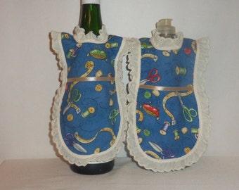 Wine Bottle Apron, Dish Soap, Detergent Cover, Blue Love to Sew, Kitchen Decor, Lotion Apron, Eyelet Lace