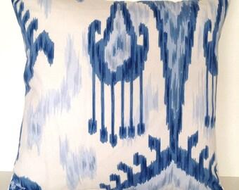 """16"""" x 16"""" Robert Allen Square Throw Pillow Cover Ikat Navy blue Indigo Decorative Accent Ikat Khandar"""