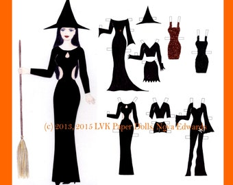 Halle Halloween Witch Paper Doll