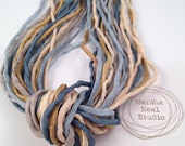 Blue Gold Tan Boho 2mm Silk Cord Ribbon Craft Supplies Jewelry Supplies 40 to 42 Inches Long
